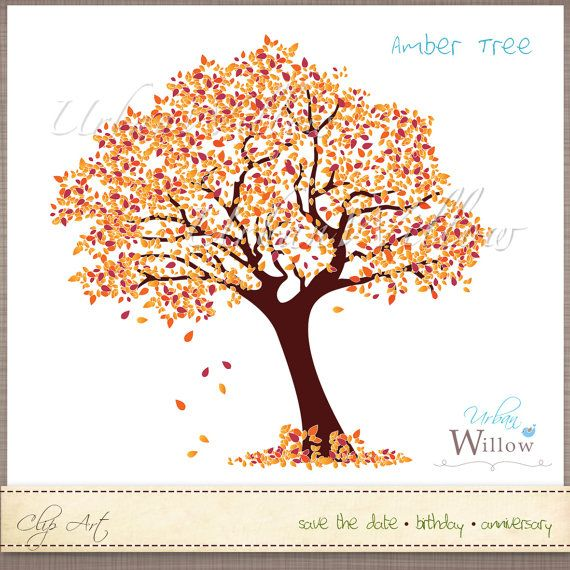 AMBER TREE   Clip art image in 3 sizes. Png  Jpeg by urbanwillow, $5.50