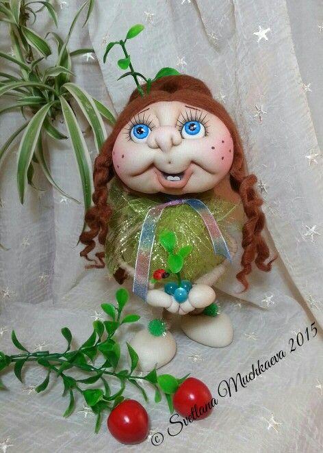 """Интерьерная кукла """"Росток жизни"""".Скульптурно-текстильная тезника."""