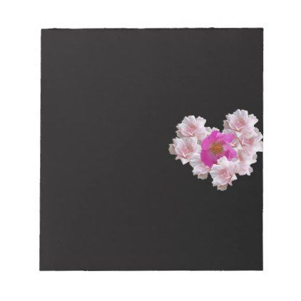 Many Heart Shaped Roses on Black Background Notepad - Saint Valentine's Day gift idea couple love girlfriend boyfriend design