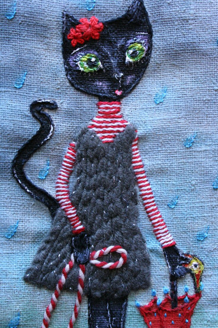 "Nursery Decor - Mixed Media Cat Art - Leah ""The Black Cat"" in a raining day - Gift for Baby Girls - Baby Shower by BlackCatCreativeStd on Etsy https://www.etsy.com/listing/206570793/nursery-decor-mixed-media-cat-art-leah"