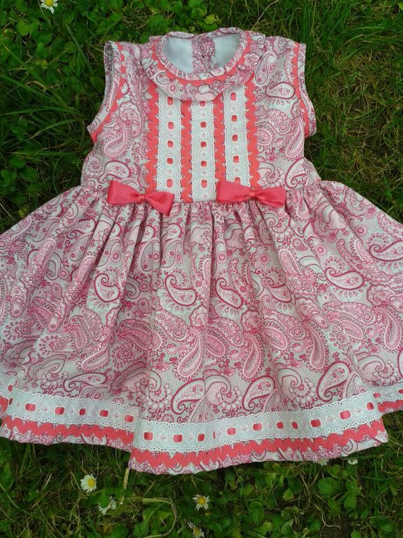 baby pink paisley dress toddler paisly yellow dress by pitufos