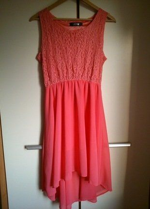 Kup mój przedmiot na #vintedpl http://www.vinted.pl/damska-odziez/krotkie-sukienki/17580746-koralowarozowa-zwiewna-asymetryczna-koronkowa-sukienka