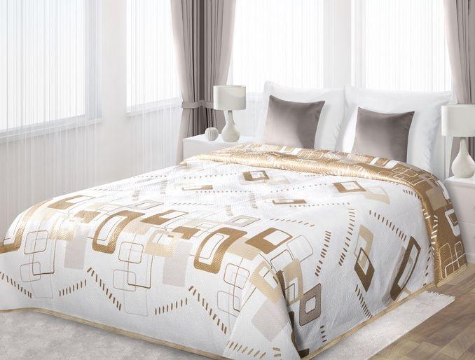 Narzuty dwustronne białe na łóżko w beżowe prostokąty