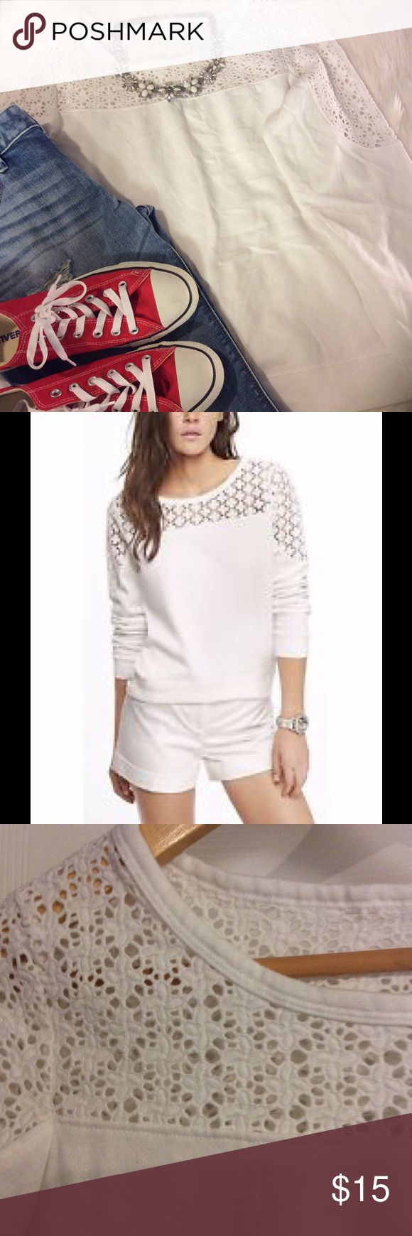 Express White Crochet Top Sweatshirt New spin on your average sweatshirt! Perfect for casual outings. Express Tops Sweatshirts & Hoodies