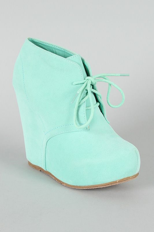 Bamboo Debrah-01N Suede Lace Up Wedge Bootie $30.80
