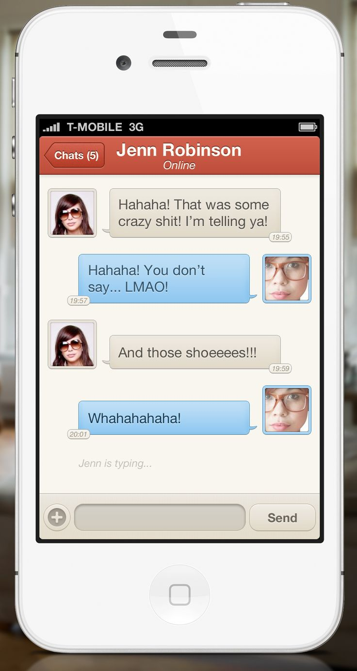 UltraUI | UI Design & Inspiration — iPhone Chat UI by Kevin Anderson (@3sixtymedia)