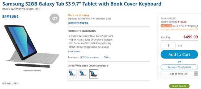 Grab Samsung Galaxy Tab S3 for $500 with book cover keyboard