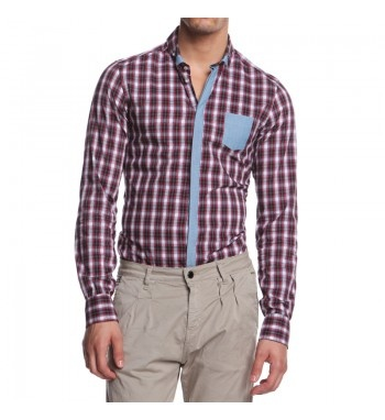 Plaid shirt with chanbrie button line and front pocket, contrast collar. http://shop.mangano.com/en/s/16421-camicia-badly-des-7-chambrie.html  #shirt #fashion #menswear #red