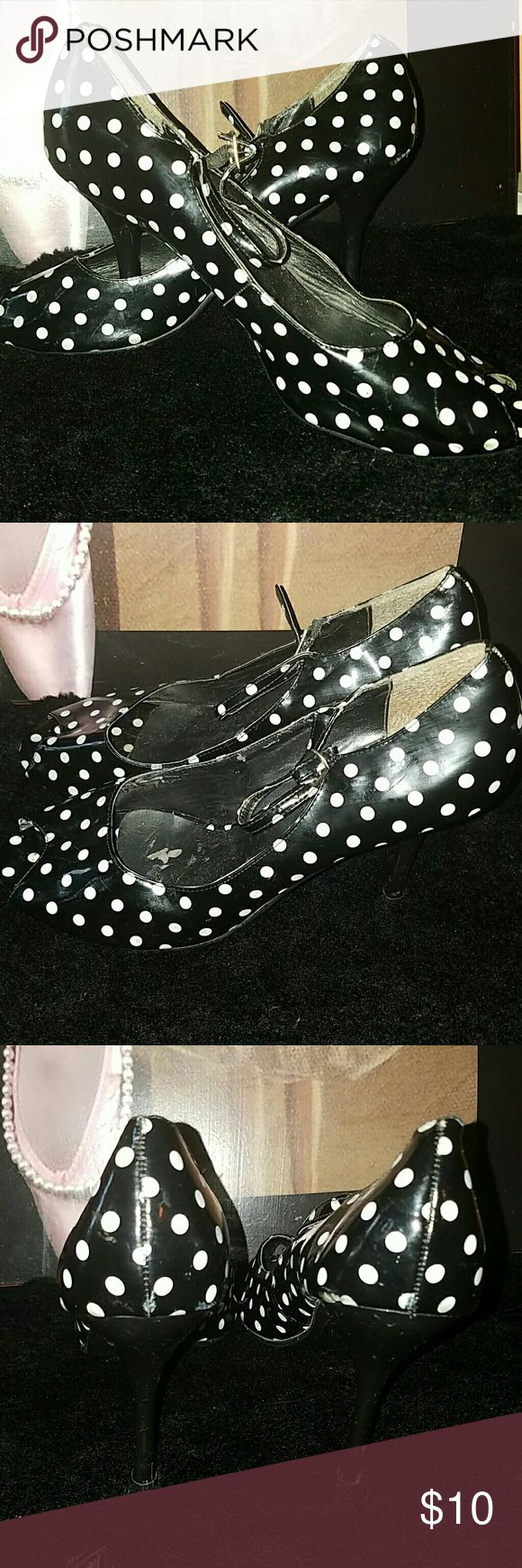 Polka-dot Shoes PeepToe, polkadot,  black and white pumps, with strap, good condition, patent leather,  Breckelles is the name, worn a few times Breckelles Shoes Heels