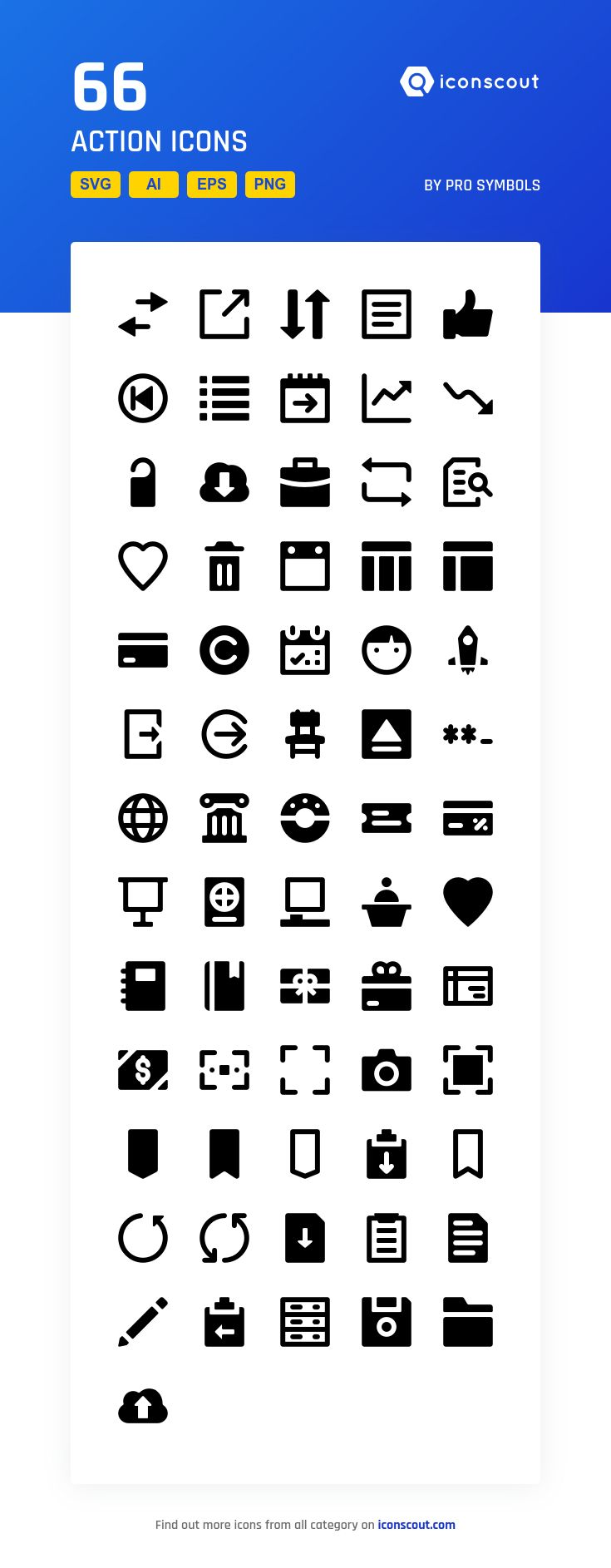 Action  Icon Pack - 66 Solid Icons