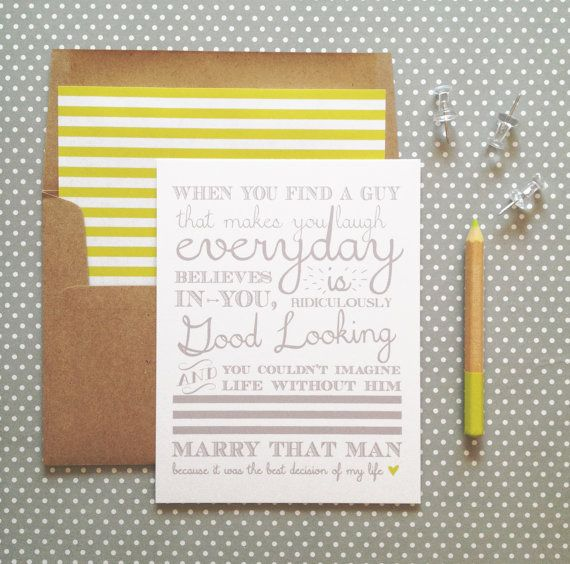 Marry that Man Anniversary Card white folded A2 by gingerpdesigns, $4.00