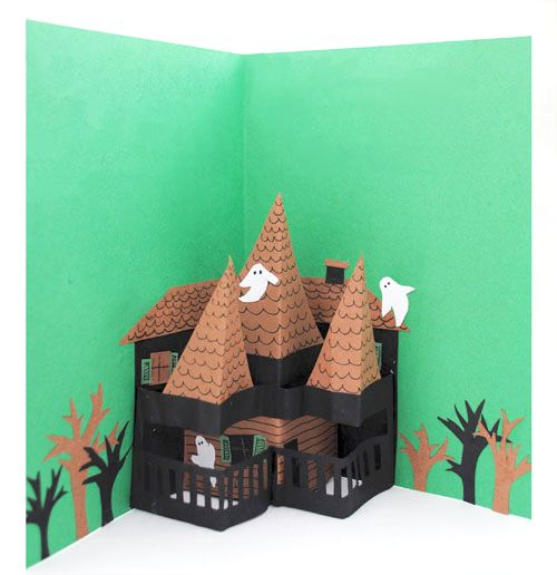pop up haunted house halloween card getting creative fall crafts pinterest haunted. Black Bedroom Furniture Sets. Home Design Ideas