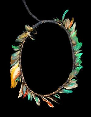 Featherwork ring crown, Karajá, from Araguaia River, Brazil