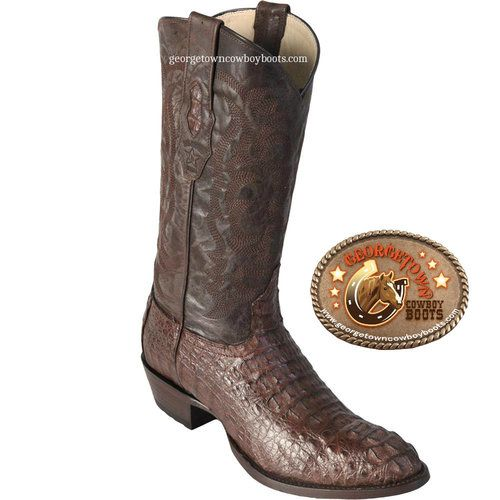 Los Altos Mens Round Toe Caiman Hornback Cowboy Boots Brown 650207