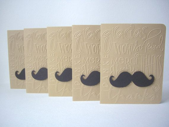 mustache card set thank you mustache cards by JDooreCreations, $5.50