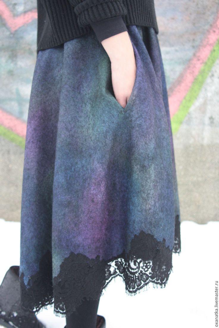 Купить Валяная юбка Павлин-мавлин - юбка миди, юбка из шерсти, авторская ручная работа