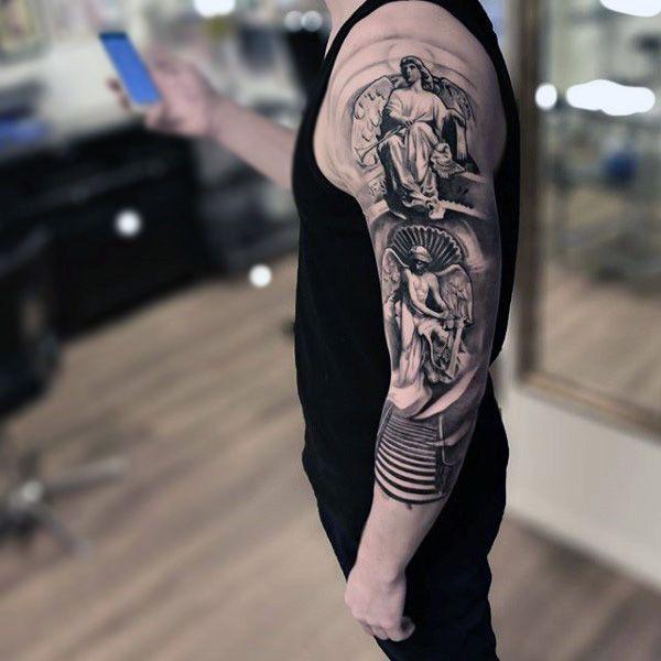 Mens Sleeves Seated Guardian Angel Tattoo