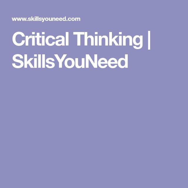 Critical Thinking   SkillsYouNeed
