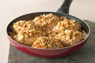 STOVE TOP One-Dish Chicken Skillet recipe ~ hot water, melted butter, STOVE