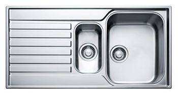 $139 Franke - A Reversible One And A Half Bowl, Single Drainer Inset Sink (Stainless Steel) * - DIY Kitchens