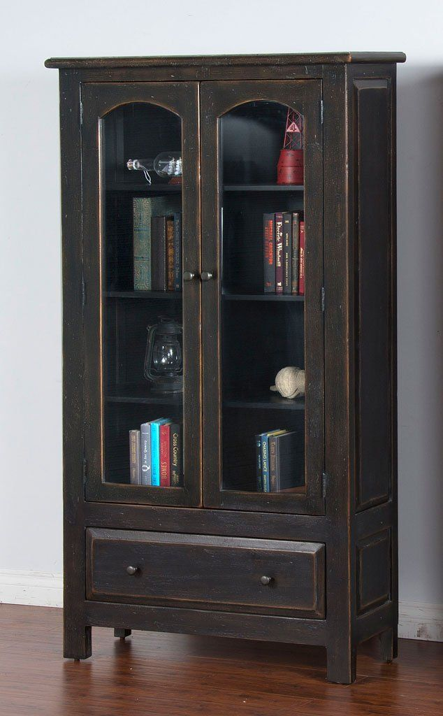 Distressed Black 2 Door Display Cabinet Display Cabinet Black Distressed Cabinets Redo Cabinets
