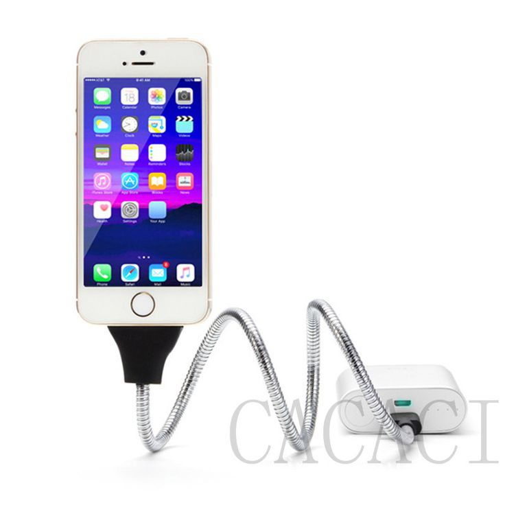 Ultra Stretch Flexible Metal Twister for iphone Android Type C Cable Dock Phone Stand Dock Car Phone Data Cable Coiled Holder