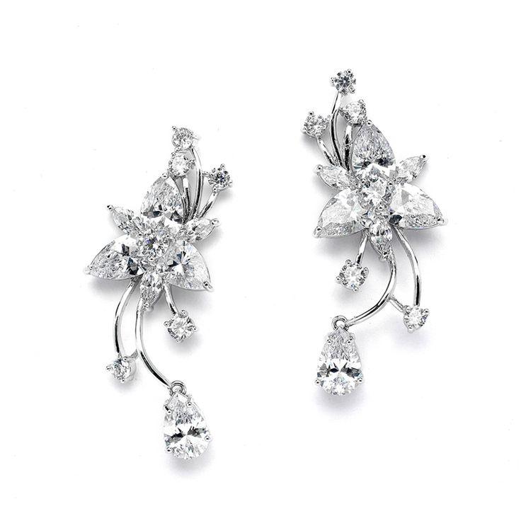 Boucles d'oreilles mariage Fleur de Diamants