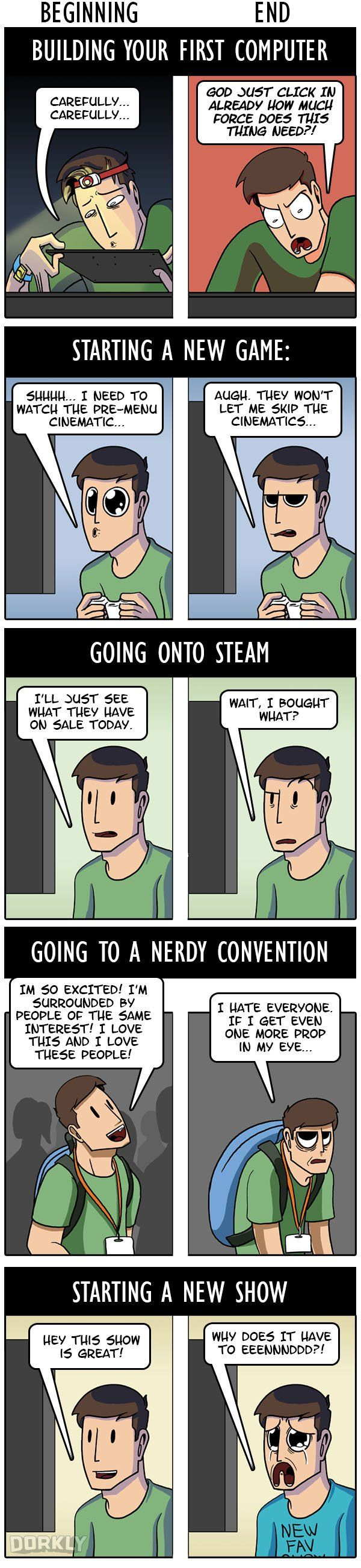 A funny comic by Julia Lepetit from Dorkly illustrating how various nerdy experience can change over time. The top panel? Yep, that used to be totally me.