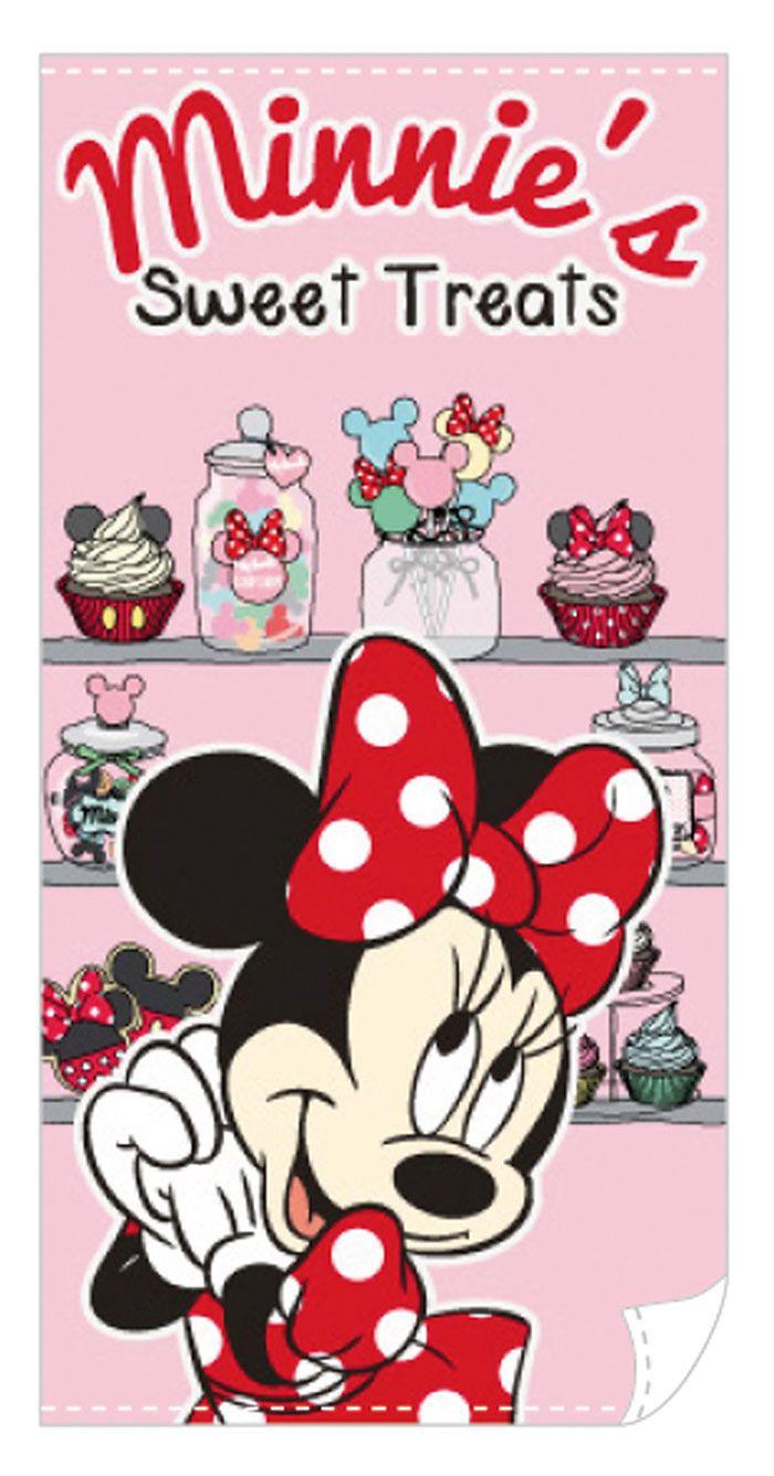 Toalla Minnie Mouse. Cupcake 140 x 70 cm. Disney Estupenda toalla que encantará a los más pequeños de la casa con la imagen de la popular ratona Minnie, la eterna novia del raton Mickey.