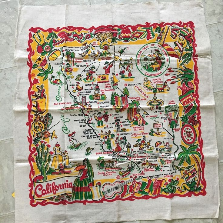 NWT Vintage California Souvenir State Map Linen Tablecloth Cactus Cloth
