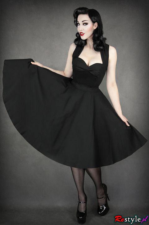 pin up 50' BLACK DRESS heart neckline petticoat   CLOTHING \ Dresses   Restyle.pl