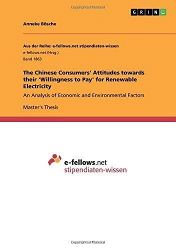 The Chinese Consumers' Attitudes Towards Their 'Willingness to Pay' for Renewable Electricity