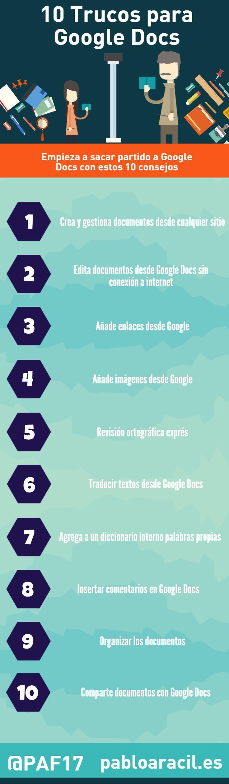 #Infografía con 10 trucos para Google Docs. Con ella vas a poder aprender a maximizar el resultado de esta herramienta gratuita en la nube.  #Google #Googledocs #SocialMedia