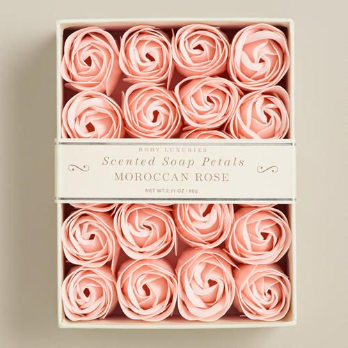 Perfect for the guest bath - Moroccan Rose Soap Petals, 20 Pieces, from World Market  www.eloquentevent.com