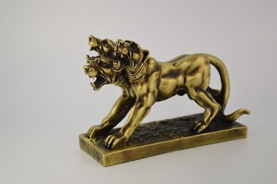 Cerberus statue/ Polyester/ Bronze plated 10cm by CraftsAndMetal