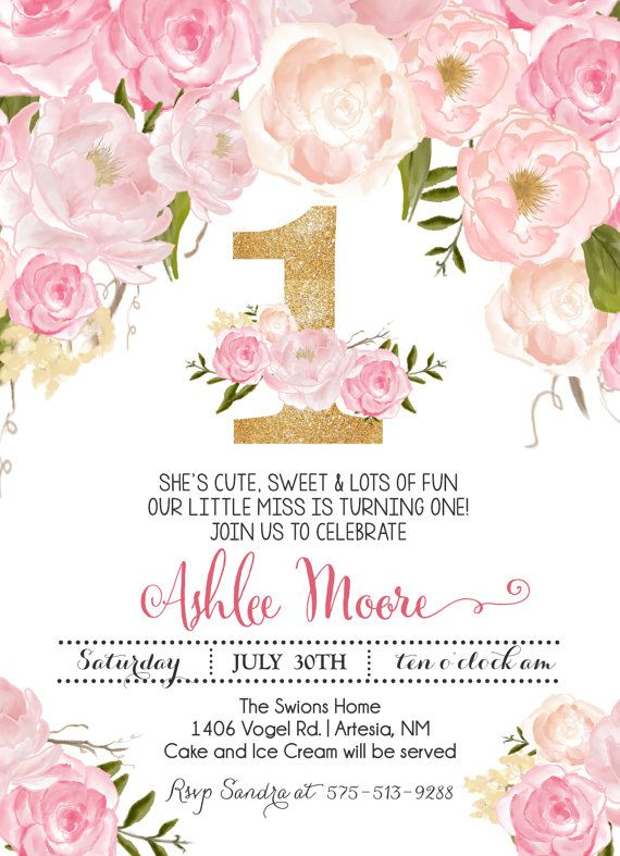 11 best bautizo images on pinterest christening watercolour pink floral first birthday pink watercolor birthday stopboris Images