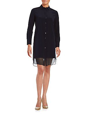 Magaschoni Georgetter Shirtdress - Midnight - Size