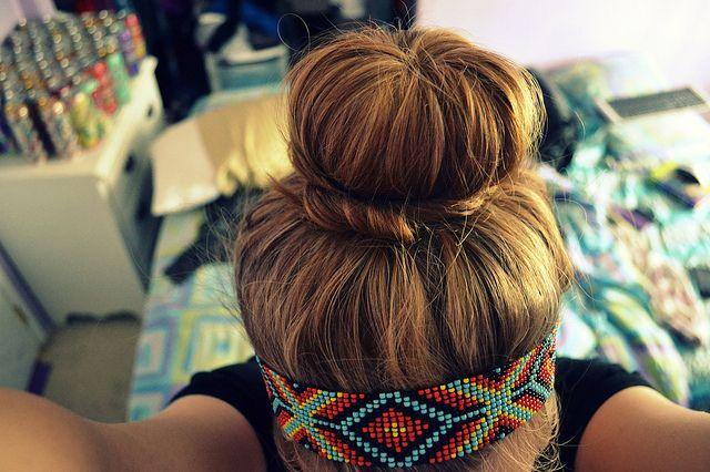 love: Hairstyles, Beads Headbands, Sockbun, Makeup, Beautiful, Hair Style, Socks Buns, Tribal Prints, Sock Buns