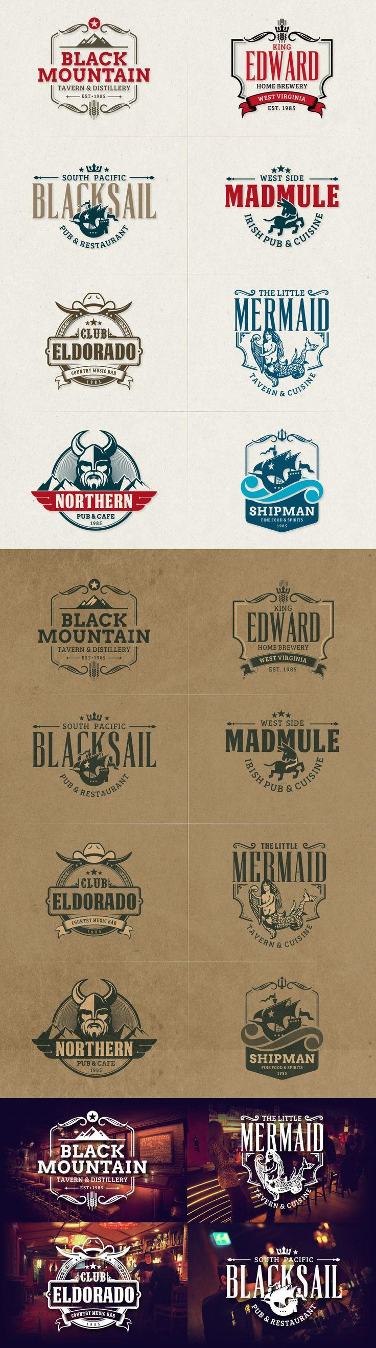 8 Retro Badges & Insignias for Cafe, Bar, Pub, Tavern and Restaurant #design Download: https://creativemarket.com/sgcanturk/369477-Cafe-Bar-Badge-Logos?u=ksioks