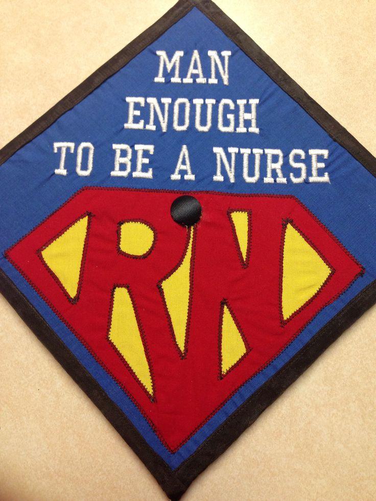 Male nurse graduation cap college nursing superman