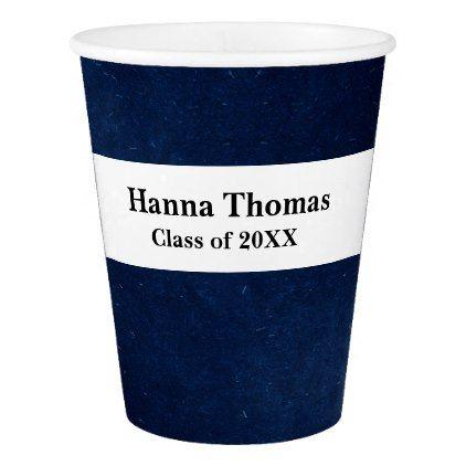Navy Gold Bokeh Lights Graduation Paper Cup - graduation gifts giftideas idea party celebration