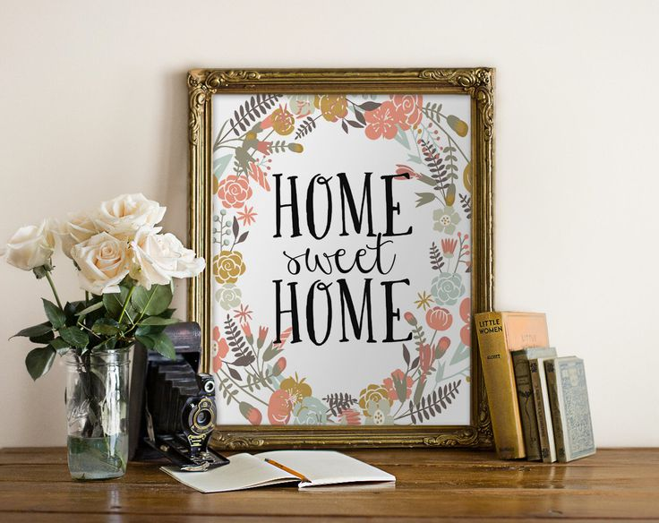 "PRINTABLE Art ""Home Sweet Home"" Typography Art Print Floral Quote Floral Art Floral Print Pink Floral Wreath Print Wreath Art Home Decor by WishfulPrinting on Etsy https://www.etsy.com/ca/listing/214375875/printable-art-home-sweet-home-typography"