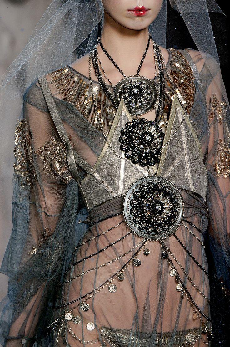 John Galliano at Paris Fashion Week Fall 2009 - StyleBistro Clash of eras: art nouveau, and warrior