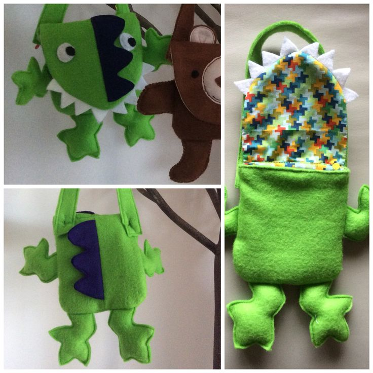 """Dinosaurs Rock"" wool felt bag. Made by Jen Charlton."