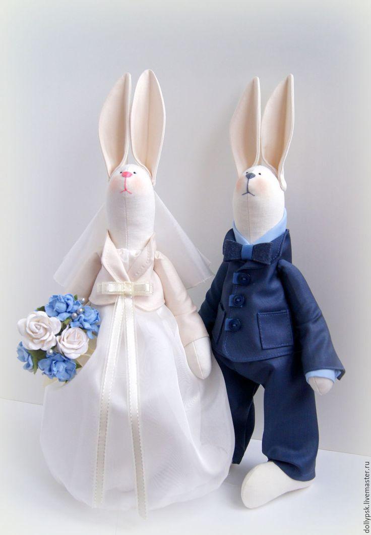 Купить Пара свадебных зайчиков - белый, зайцы тильда, зайцы, зайцы свадебные, заяц