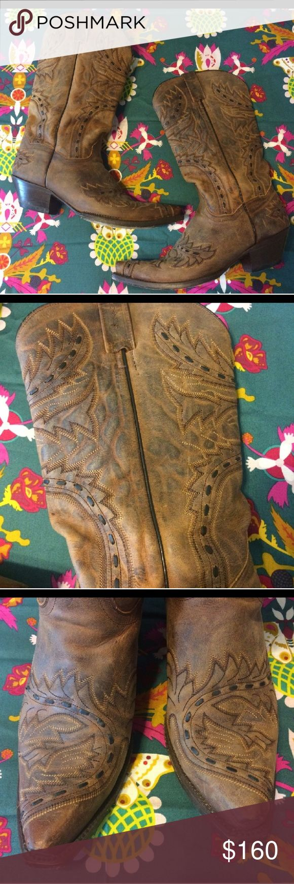 Dan Post boots! Dan Post cowboy boots, worn 3 or 4 times. Size 11,  Briwn with beautiful black stitching! Excellent excellent condition! Dan Post Shoes Heeled Boots