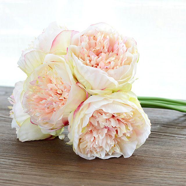 4 цвета 1 пучок Европейский Искусственные цветы поддельные пион Свадебный букет Рождество Свадебная вечеринка Главная Декоративные