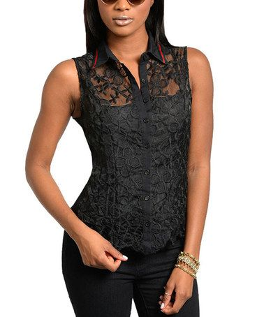 98e2b075ad857b Love this Black Lace Sleeveless Button-Up Top - Women on  zulily!   zulilyfinds