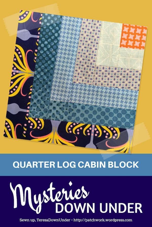 Block 20 – Quarter log cabin quilt block – Mysteries Down Under quilt