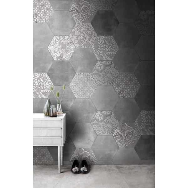 Porcelain Hexagon Tiles 10 X12 Monochrome Mix Of Patterned And Plain 4 14 Square Foot Tile Floor Porcelain Flooring Porcelain Floor Tiles